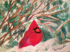Cardinal in the Snowy Pines, by Renee Michelle Wenker