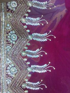 Latest Embroidery Designs, Machine Embroidery Designs, Embroidery Patterns, Sewing Patterns, Pakistani Maxi Dresses, Wedding Saree Blouse Designs, Saree Border, Fabric Beads, Basel