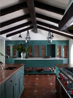 Terracotta and teal kitchen color palette. #kitcheninspo #kitchendesign #colorpalette #terracotta