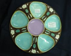 Victorian Majolica  Oyster Plate
