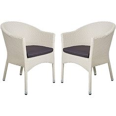 KARMAS PRODUCT 2 PCS Outdoor Rattan Chairs Patio Garden Furniture with Seat CushionsWeave Wicker Armchair (white)
