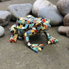 Green U0026 Harlequin Mosaic Resin Frog Ornament #garden #ornament #mosaic
