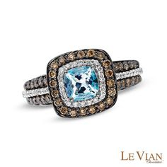 Le Vian® Sea Blue Aquamarine™ and 3/4 CT. T.W. Diamond Ring in 14K Vanilla Gold™ - View All Rings - Zales