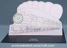Pop up slider card with prick and stitch train | Prick And Stitch Is My Craft