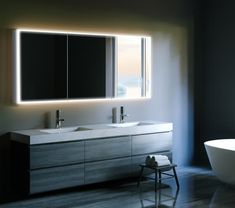 LED colour temperature changing double door bathroom cabinet with sensor switch, charging socket & soft close hinges available from Beccles Tile & Bathroom Centre. Home Decor Furniture, Bathroom Furniture, Bathroom Interior, Modern Bathroom, Master Bathroom, Condo Interior, Bathroom Grey, Smart Furniture, Downstairs Bathroom
