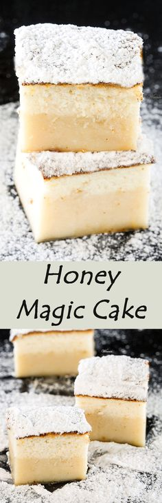 Honey Magic Cake One batter and after baking you get a layered-cake. The famous magic cake but with a twist - Honey (English version included) Mini Desserts, Just Desserts, Delicious Desserts, Yummy Food, Creative Desserts, Magic Cake Recipes, Sweets Recipes, Cooking Recipes, Cupcakes