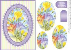 Colourful Flowers A5 Quick Card With Oval Pyramage
