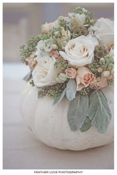 a white pumpkin filled with white hydrangeas, blush pink spray roses, gray dusty miller, green seeded eucalyptus, and brown scabiosa pods.