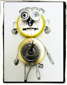 Robot SteampunkClock, Assemblage ,Mixed Media, Repurposed, Found Objects OOAK