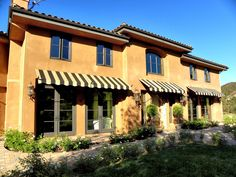 Spear awnings, scroll awnings and ball-tip awnings in vibrant UV-rated outdoor fabrics. Outdoor Material, Outdoor Fabric, Window Awnings, Custom Windows, Outdoor Living, Outdoor Decor, Investment Property, Windows And Doors, Canopy
