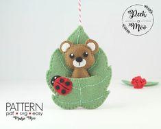 Felt Bear Pattern Bear Felt Pattern Bear Fingerpuppet Bear Ornament Plush Bear Miniature Bear Peek a Moo Bear Christmas Ornament Cricut SVG Ornament Pattern, Felt Ornaments Patterns, Felt Patterns, Pdf Patterns, Christmas Patterns, Bear Felt, Peek A Boo, Felt Leaves, Needle Felting Tutorials