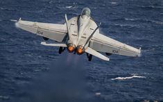 Download wallpapers Boeing FA-18F Super Hornet, F-18, American fighter, US Navy, military aircraft, take off from an aircraft carrier, American deck fighter