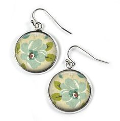 FLOWER - Glass Picture Earrings - Silver Plated (Art Print Photo F5) by RosettaLondon on Etsy