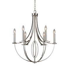 10121/6, DIONE collection DIONE 6-LIGHT CHANDELIER IN POLISHED NICKEL