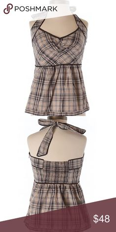 """Edme and Esyllette Top from Anthropologie Plaid top with a self-tie halter neck. Bust 26"""" length not including tie is 14"""". Excellent condition! Anthropologie Tops"""