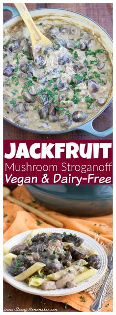 My husband is an omnivore and he loved this vegan mushroom stroganoff with big chunks of tender jackfruit so much that he requested that I make it twice in one week! The wine soaked mushrooms are my favorite part!