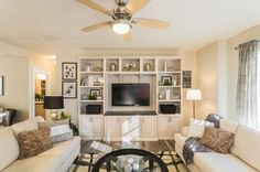 A stylish entertainment center and built-in storage solution.