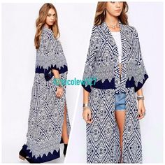 Long Navy Kimono Add a dramatic flair! This kimono can be worn in countless ways: with a skirt, shorts, leather leggings...you name it. Available in small, medium, and large. Boutique Jackets & Coats