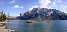 Lake Minnewanka Morning Alberta Canada Panoramic Picture. Purchase this beautiful panorama and more by visiting http://panoramicpanorama.com