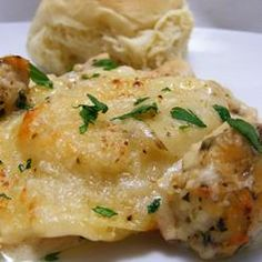 K-Dub's Alfredo Ravioli Bake - Frozen cheese ravioli, boneless chicken tenders or breasts, Alfredo sauce, mozzarella cheese, parmesan cheese, Italian seasoning all baked together.