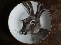 Grey Hare 2: Hand Painted Plate on Etsy, $142.16