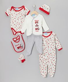 Ambulances!!! Take a look at this Red Rescue Team Eight-Piece Layette Set on zulily today!