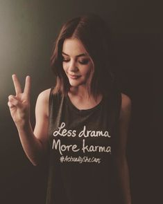 @lucyhale: ➖ ➕ LESS drama, MORE karma in my #ActuallySheCan tank. Find it at @LeMotto! #ad #deusa#rainha#meu amor#baixinha#Lucy Hale#aria montgomery#Pretty Little Liars#PLL#liar#girl#peace#peace and love#2016#queen#beautiful#Le Motto#less drama#more karma#ActuallySheCan#cute