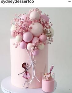 Baby Girl Birthday Cake, Candy Birthday Cakes, Elegant Birthday Cakes, Beautiful Birthday Cakes, First Birthday Cakes, Cake Decorating Frosting, Birthday Cake Decorating, Beautiful Cake Designs, Balloon Cake