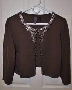 Venezia Women's Brown Sweater Shrug w/Sequins Size 14/16 #Venezia #Shrug #FormalChristmas