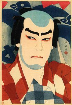 """Natori Shunsen, Jitsukawa Enjaku II playing the role of Danshichi Kurobê in the drama """"Natsu Matsuri Naniwa Kagami"""" 1926"""