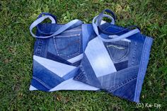Crazy quilt patched denim tote bag