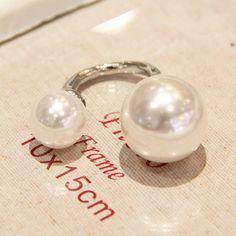 情享韩国百搭气质款 人造珍珠开口戒指5五件套装指环个性装饰品女