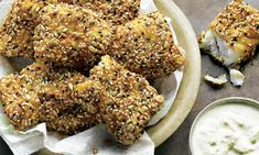 grown-up fish fingers with caraway dipping sauce recipe, plus chilled almond and ginger soup