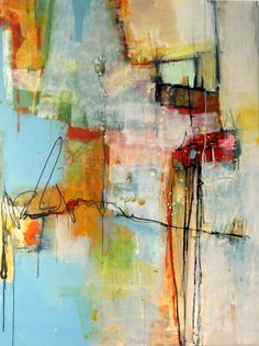 SLIP SLIDING by Janet Wayte  Acrylic/graphite on canvas