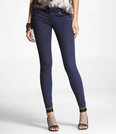 STELLA COLORED JEAN LEGGING- DARK BLUE at Express  #ExpressJeans