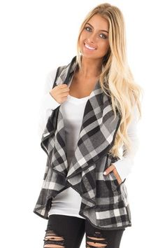 Black and White Plaid Vest with Faux Leather Trim front close up