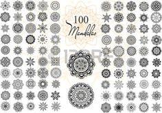 tatuaggio henne: Set rotondo Ornamento con mandala. Elemento cerchio geometrico fatto nel vettore. Set perfetto per qualsiasi altro tipo di design, compleanno e altre vacanze, caleidoscopio, medaglione, yoga, india, arabo