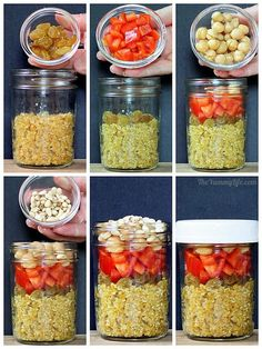 Quinoa salad-in-a-jar in 4 international flavors Chicken Breast Recipes Healthy, Raw Food Recipes, Food Network Recipes, Healthy Dinner Recipes, Healthy Snacks, Vegetarian Recipes, Healthy Wraps, Jar Recipes, Healthy Options
