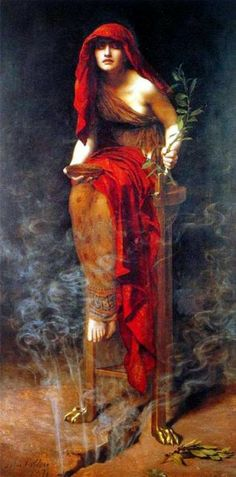"""Priestess of Delphi"" by John Collier.  For an interesting explanation of why she looks so stoned, read ""The Oracle"" by William Broad."