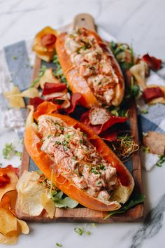 These lobster rolls with crispy ginger and scallions is a bit of an Asian twist on a seaside classic. You won't believe how amazing this lobster roll is. Lobster Roll Recipes, Lobster Rolls, Seafood Recipes, Gnocchi Recipes, Lunch Recipes, Summer Recipes, Vegetarian Recipes, Antipasto, Wok Of Life