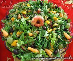 Receita de Salada de Alface e Rúcula com Frutas Tropicais Veggie Recipes, Salad Recipes, Diet Recipes, Cooking Recipes, Healthy Recipes, Veggie Pizza, Veggie Tray, Vegetable Salad, Vegetarian Dinners