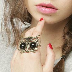 anel, coruja, fashion, glam, owl