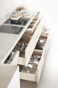 Linear #kitchen ARKADIA BLANCO NATA by Muebles Dica