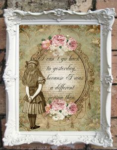 Alice in Wonderland Altered Art Illustration and Quote print. Shabby chic wall decor. Vintage Style Alice Wall Art. Altered Book Illustration. ♥ ♥