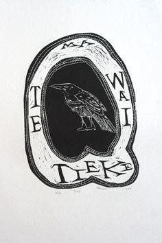 Charlotte Graham Woodcut - Tieke People Illustration, Illustration Art, Maori People, Maori Designs, New Zealand Art, Nz Art, Maori Art, Mark Making, Art Portfolio