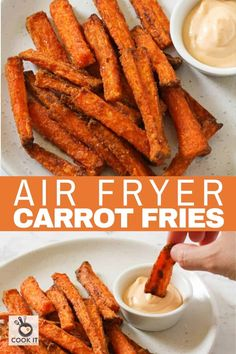 Air Fryer Carrot Fries are a healthier treat that the whole family will love. These crisp and flavourful carrot chips are vegan and gluten-free. Air Frier Recipes, Air Fryer Oven Recipes, Air Fryer Dinner Recipes, Easy Snacks, Easy Meals, Carrot Chips, Instant Pot Dinner Recipes, Air Frying, Healthy Treats