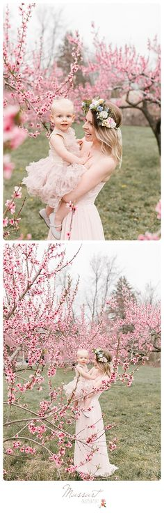 Mommy and me spring portrait inspiration! Outdoor mother and daughter styled portraits taken in an orchard while the apple blossoms were blooming; flower crown, tutu, gown | Photo by Massart Photography, RI MA CT; www.massartphotography.com; info@massartphotography.com #mommyandme