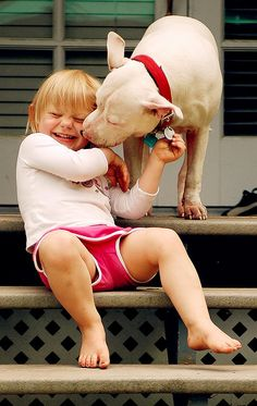 Doggie kisses for my kid. Thank you sharing with the Davinci Foundation for Animals beautiful bonds of friendship board! Love My Dog, Puppy Love, Dogs And Kids, Animals For Kids, Cute Animals, Baby Dogs, Dogs And Puppies, Doggies, Pitbulls