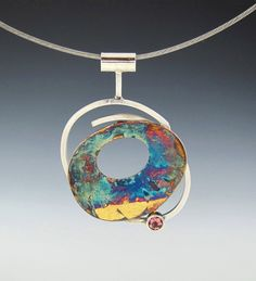 Necklace   Aimee Adomash.  Sterling silver, keum-boo, pink turmaline