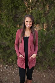 Front view open burgundy cardigan with pockets size small